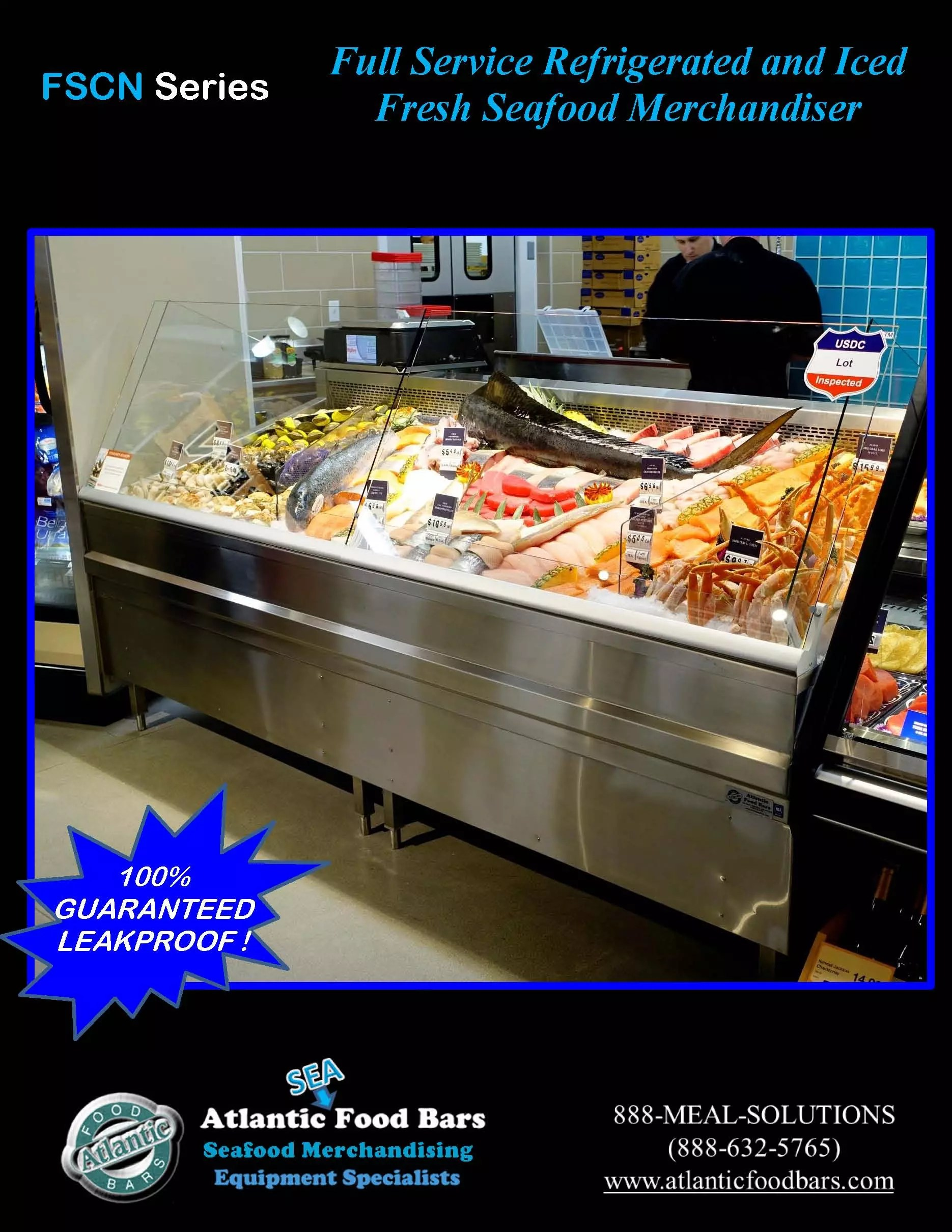 Atlantic food bars 8 39 iced and refrigerated seafood case for Food bar 2015
