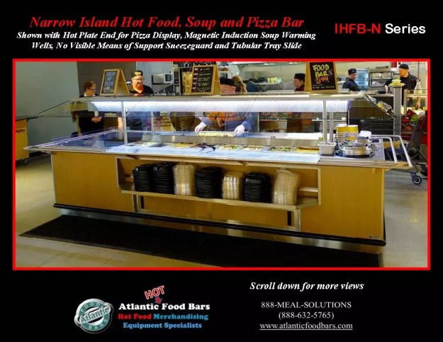 Atlantic Food Bars - Narrow Island Hot Food, Soup and Pizza Bar with Tubular Tray Slide - IHFBN-SB-HP-TS-VH_Page_2