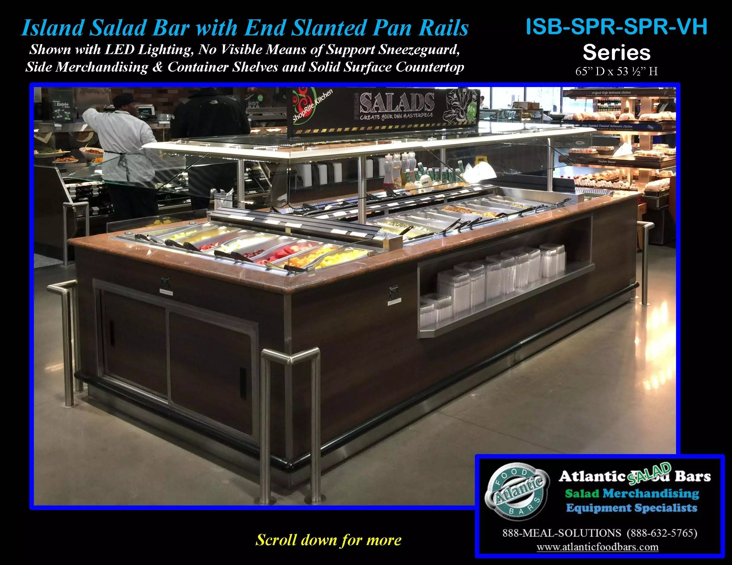 Atlantic food bars island salad bar with slanted end pan rails refrigerated island salad bar featuring slanted end pan rails granite countertop and led lighting isb14863 gc led spr2 vh aloadofball Image collections