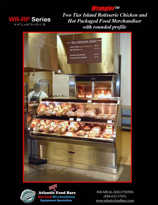 Atlantic Food Bars - Two Tier Hot Packaged Food Case - Custom Rounded Profile - WR7242-RP