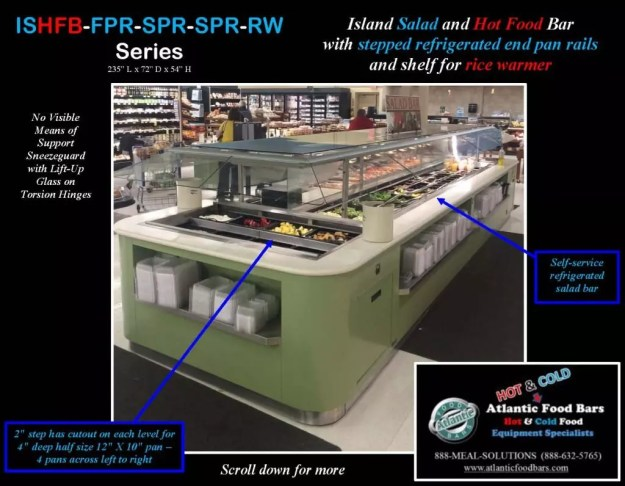Atlantic Food Bars - 19' Island Salad and Hot Food Bar with Stepped Refrigerated End Pan Rails and Shelf for Rice Warmer - ISHFB-FPR-SPR-SPR-RW_Page_2