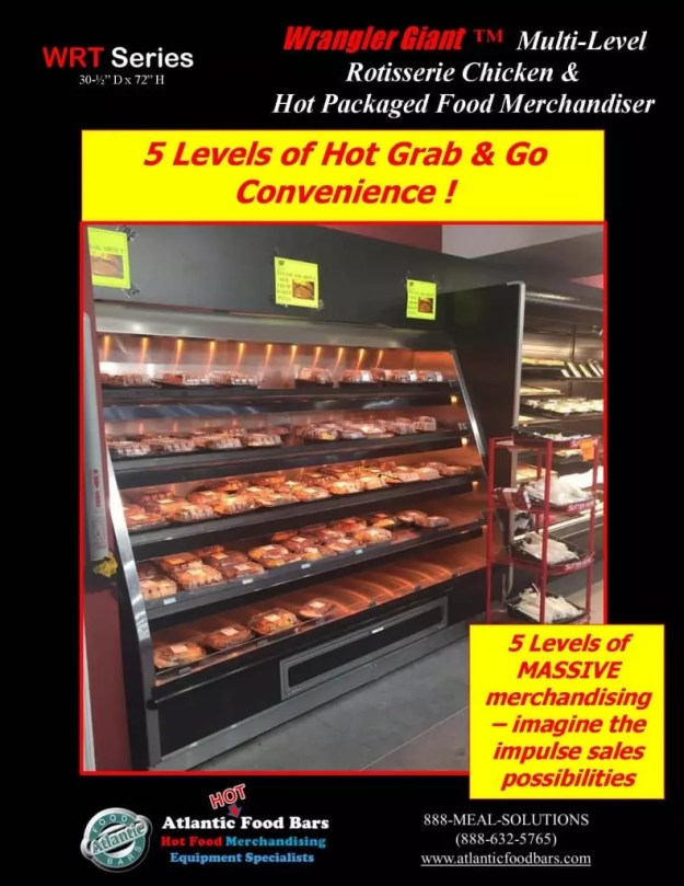 Atlantic Food Bars - 8' Wrangler Giant with 5 Shelves for Hot Packaged Food Merchandising - WR9629T-AS-AS_Page_1