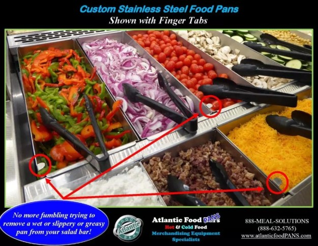 Atlantic Food Bars - Custom Stainless Steel Salad Bar Pans - Shown With Finger Tabs_Page_1