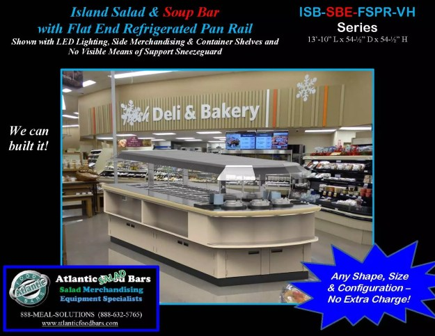 Atlantic Food Bars - Island Salad and Soup Bar with Flat End Refrigerated Pan Rail - ISB-SBE-FSPR-VH