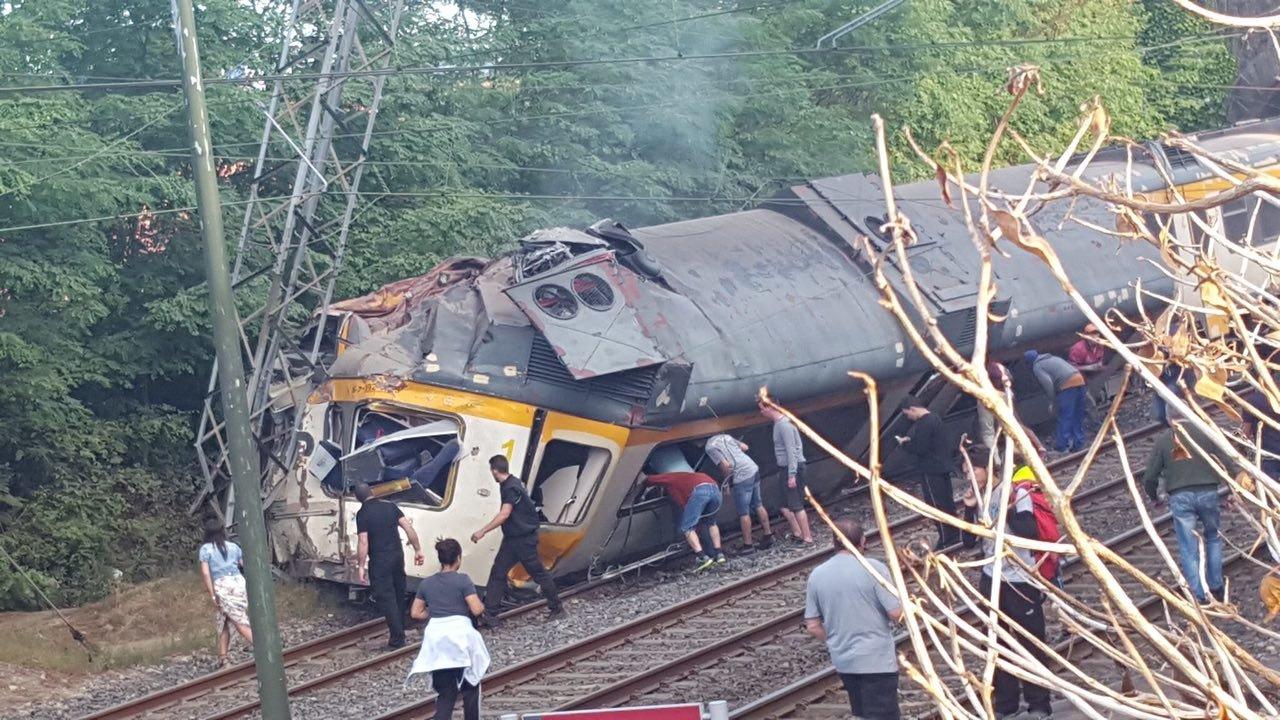 El tren que descarriló en O Porriño