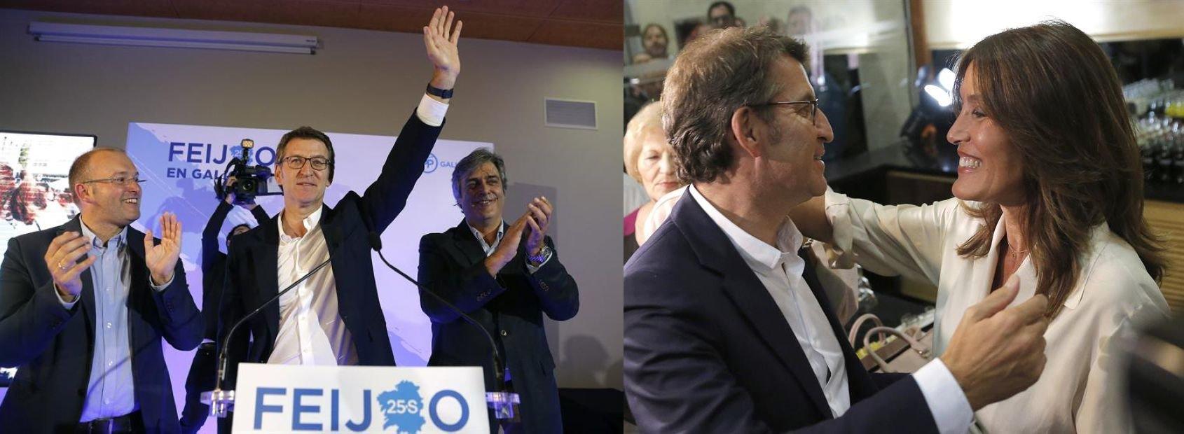 Alberto Nuñez Feijóo, celebra con su novia Eva Cárdenas el resultado electoral (d)
