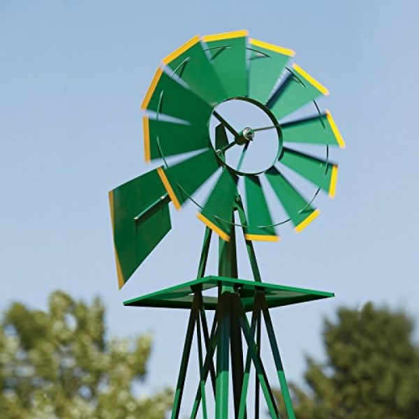 8ft. Ornamental Garden Windmill - Green And Yellow