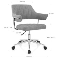 Grey Material Office Chair Vintage Industrial Skyline Fabric Atlantic Shopping