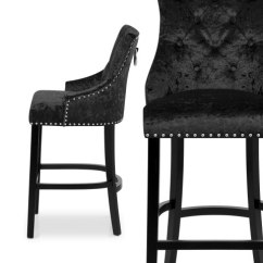 Crushed Velvet Chair Ergonomic Research Ascot Bar Stool Black - Atlantic Shopping