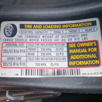 example tire pressure sticker