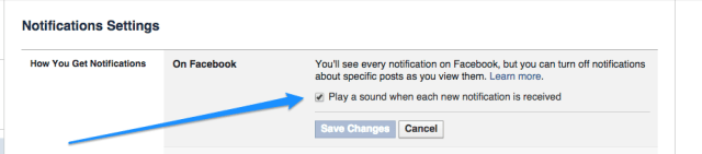 changing notification sounds in facebook