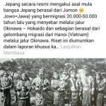 Suku Wajak dari Jawa migrasi ke Jepang sekitar …