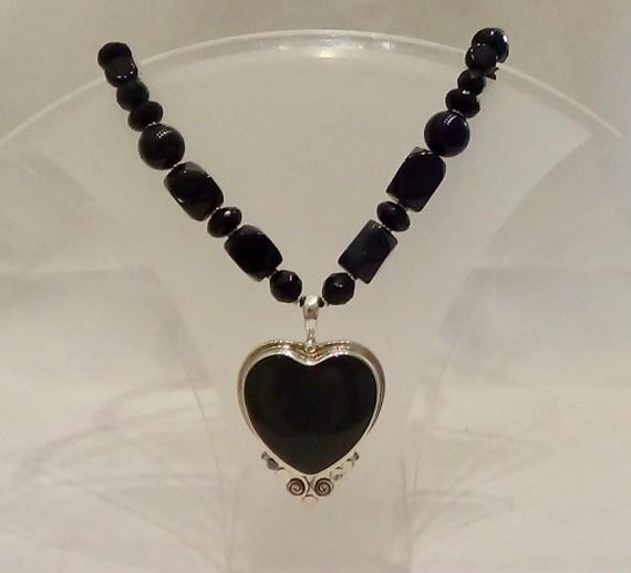 Onyx Heart/Rainbow Obsidian Beads