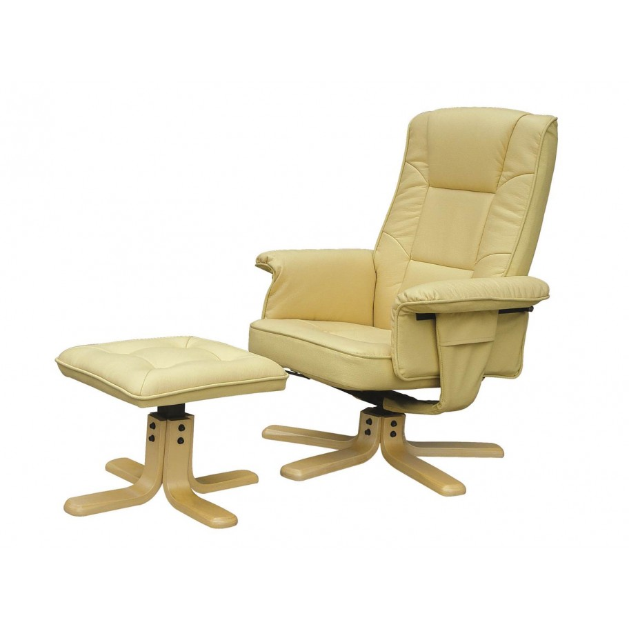 reclining office chair with footrest uk intex inflatable pull out drake leather recliner footstool