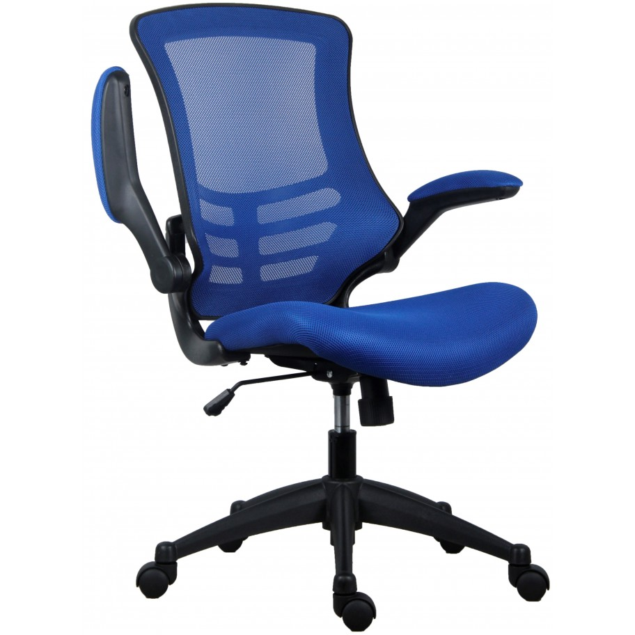 Marlos Blue Mesh Operator Office Chair With Folding Arms