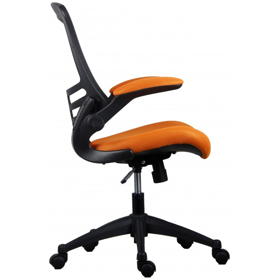 Marlos Orange Mesh Operator Office Chair With Folding Arms