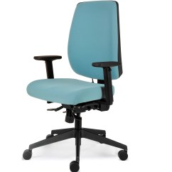 Posture Task Chair White Leather Swivel Mento Fabric
