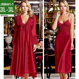 JRM441-1B - 2 Pieces Satin Nightgown Set