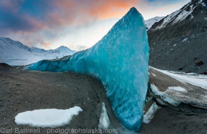 Exposed ice fin, Black Rapids Glacier, Eastern Alaska Range, Alaska