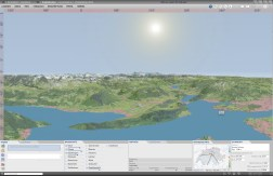 3D Panorama: Shaded terrain model in combination with satellite image and other layers of the basemap