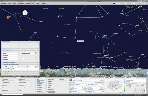 Night sky in panorama map: Labeling of the solar system, the stars and the star constellations