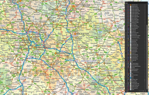 Central England County Map with Road and Rail 750000