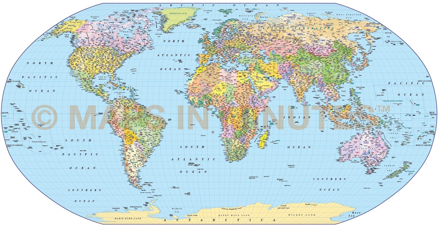 Digital Vector World Map Robinson Projection Political