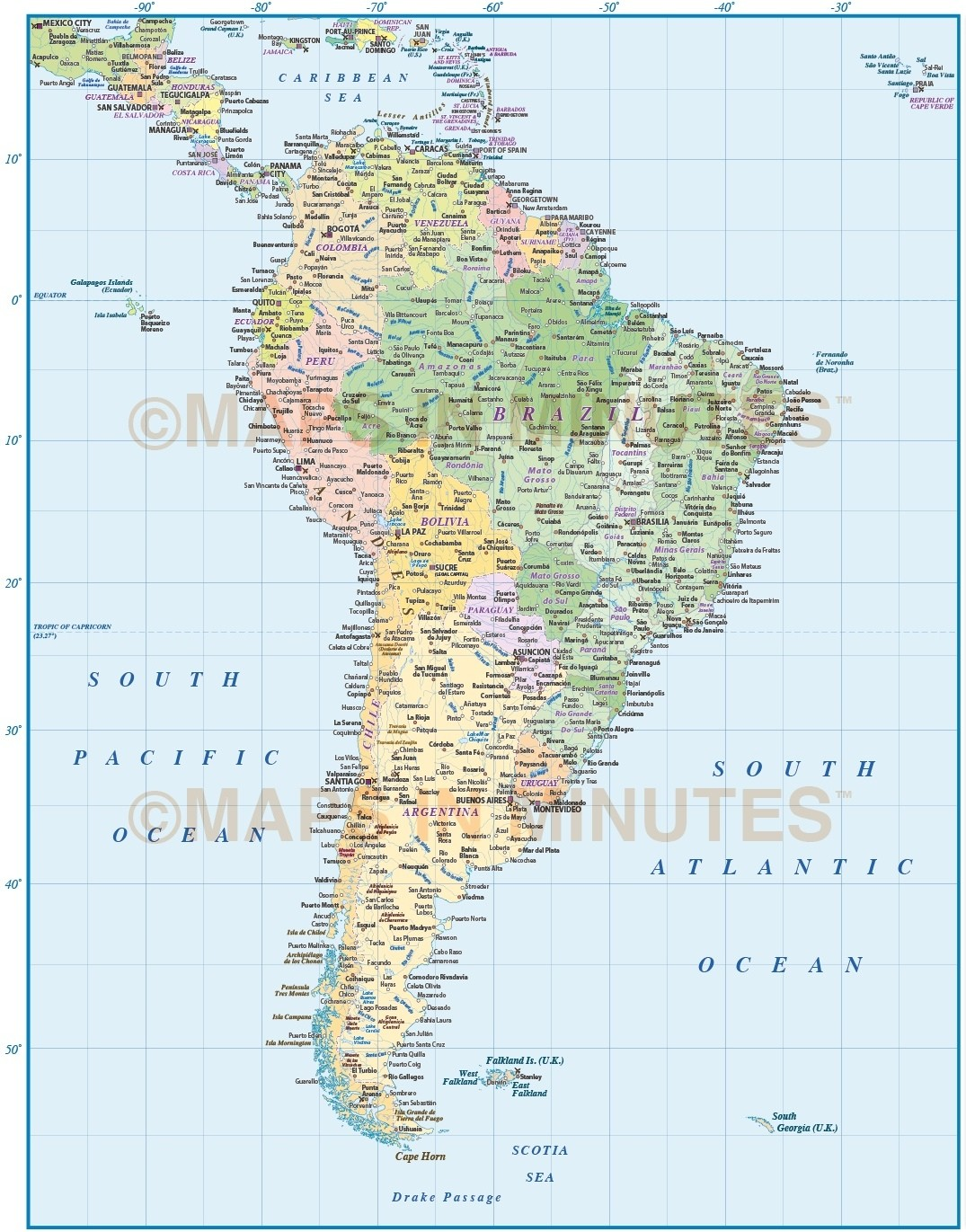Digital Vector South America Political Map 10 000 000