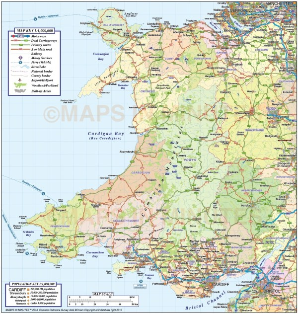 Wales 1st level County Road amp Rail Map 1m scale in