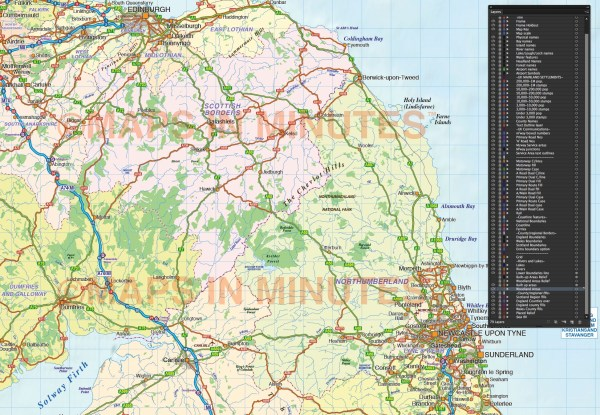 North England County Road amp Rail map with Regular colour