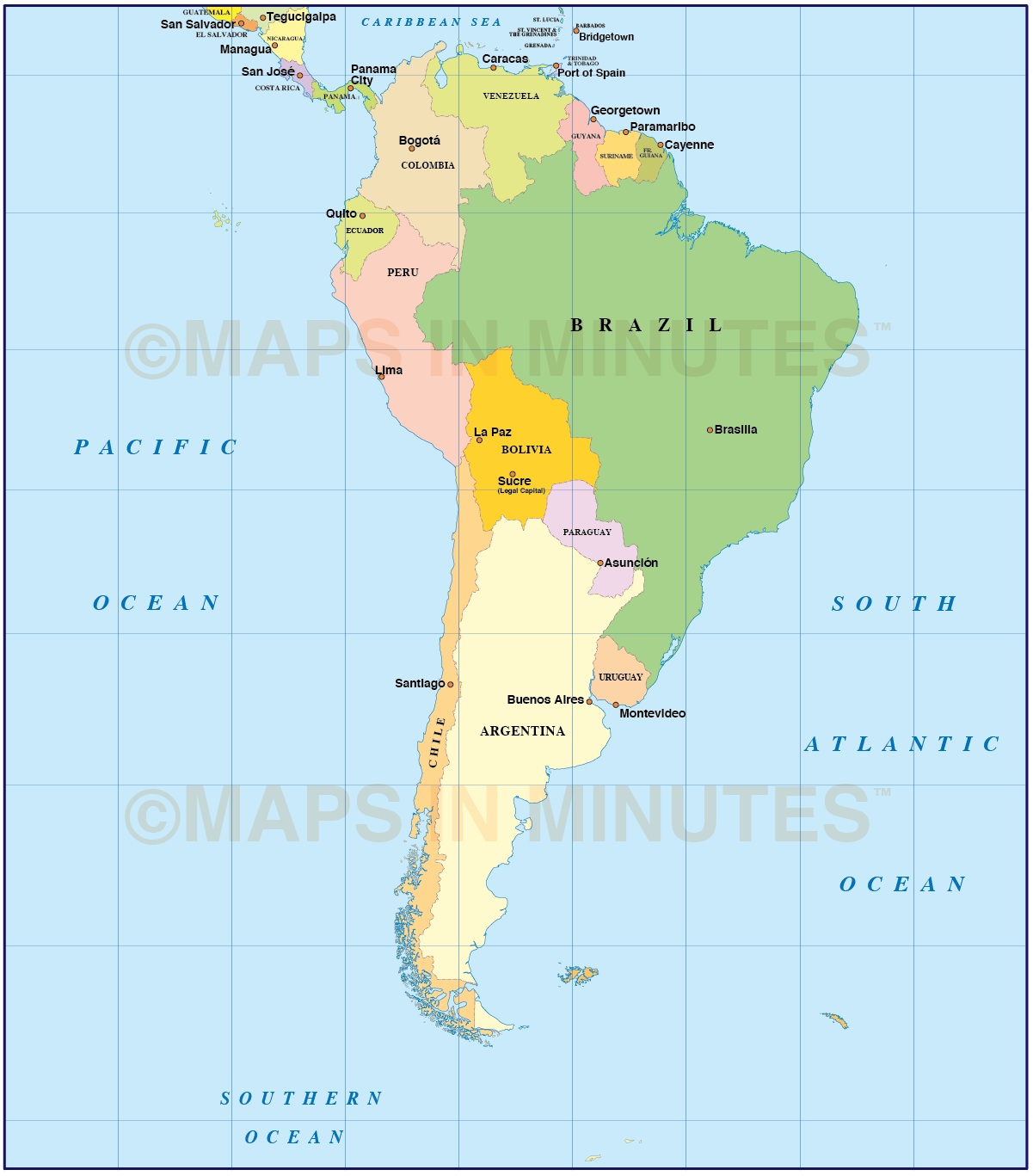 Digital Vector South American Countries Map In Illustrator And Pdf Formats