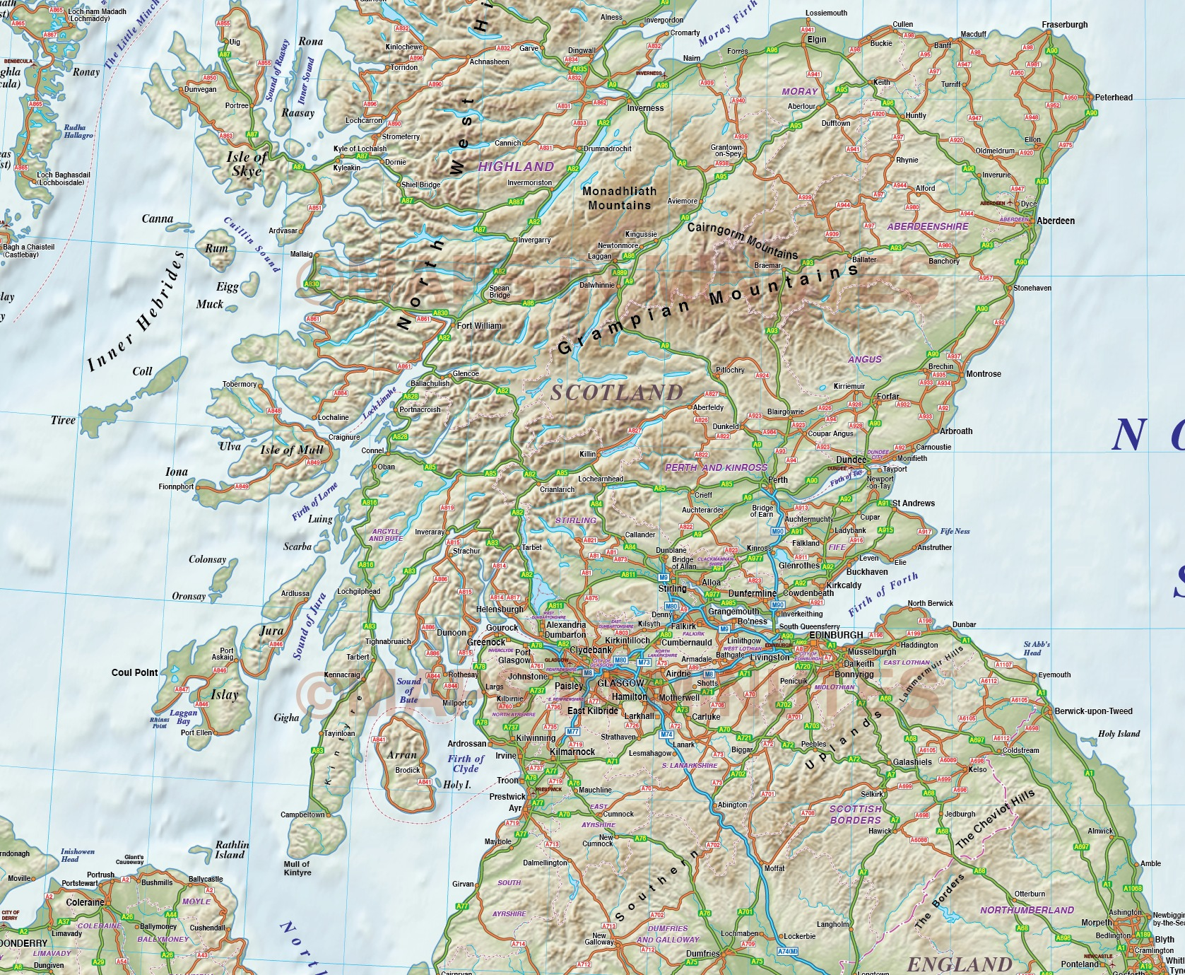 Vector Scotland Regions Road Map With 600dpi High
