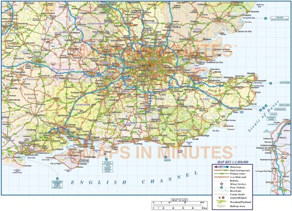 Vector South East England Map County Political Road and