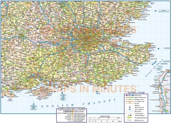 Vector South East England map 1st level political road