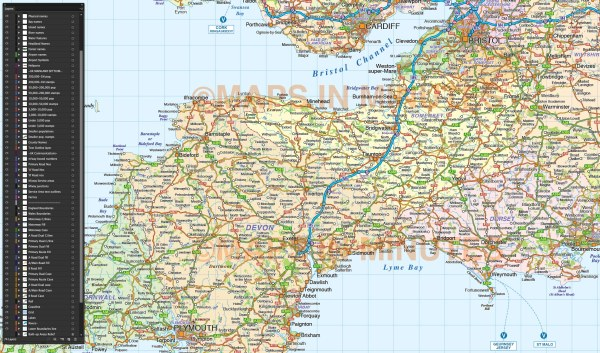 South West England Political County Road amp Rail Map with