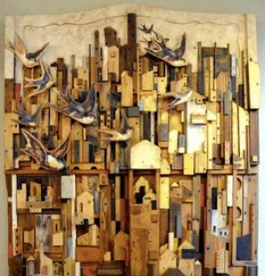 Recycled wall hanging by Gezo Marques, Photo by Julie Dawn Fox