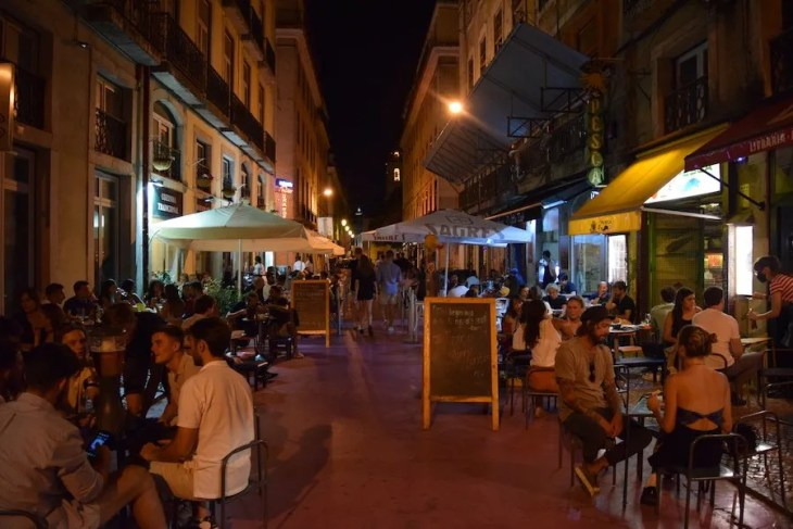 Pink Street is packed on a Saturday night in Lisbon.