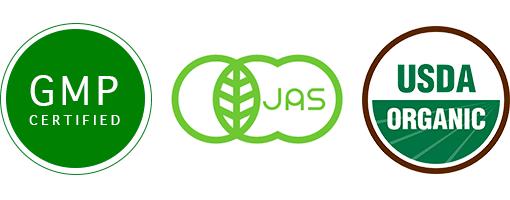 GMP Certified, JAS Certified, USDA Organic Certified