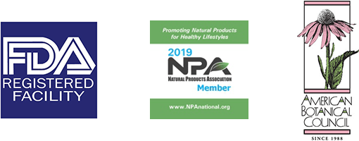 FDA Registered Facility, Natural Products Association, American Botanical Council