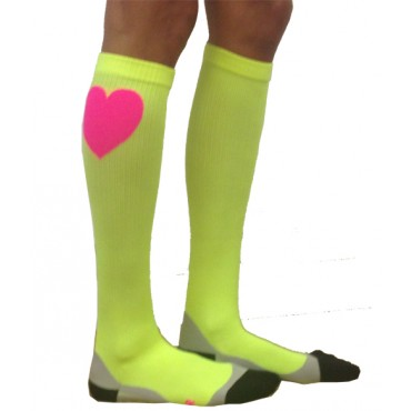 Compression Socks - Neon Citron with Heart
