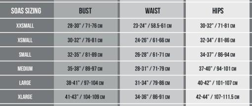 SOAS Size Chart
