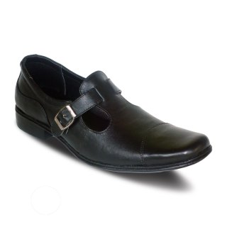 sepatu kantor pria kulit flexible A02 black - atmal