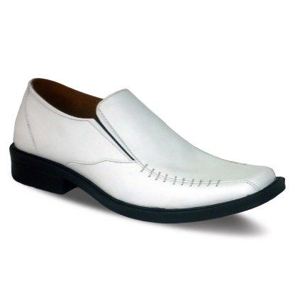 sepatu kulit pantofel pria loafer A08 white - atmal