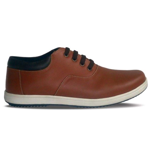 sepatu kulit sneakers oxford D06 red brick brown - samping - atmal