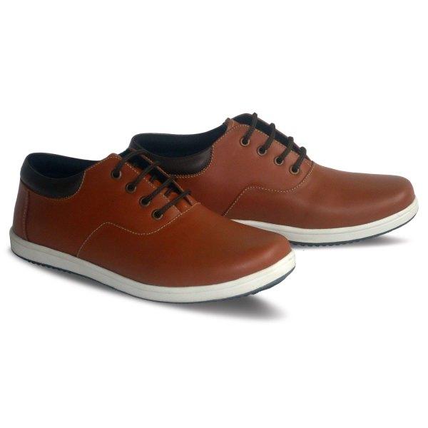 sepatu kulit sneakers oxford D06 red brick brown - 2 - atmal