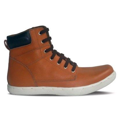 sepatu kulit sneakers derby D08 tan black - samping - atmal