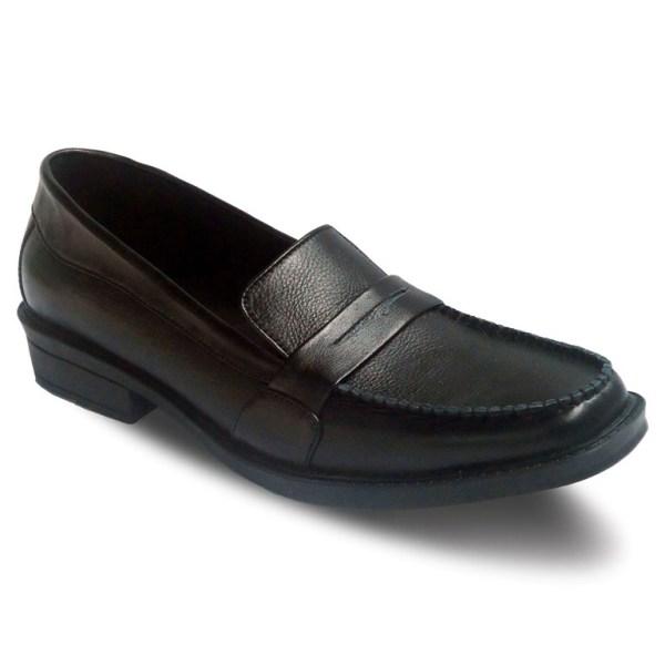 sepatu kulit pantofel pria loafer A10 black - atmal