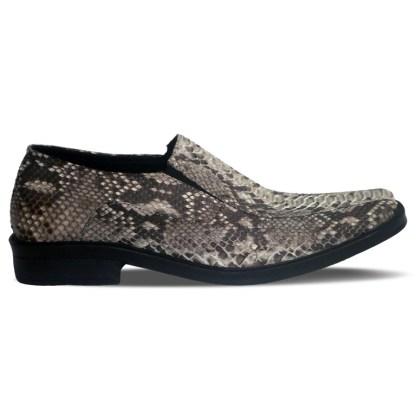 sepatu kulit ular python pantofel pria python loafer AP01 natural - samping - atmal