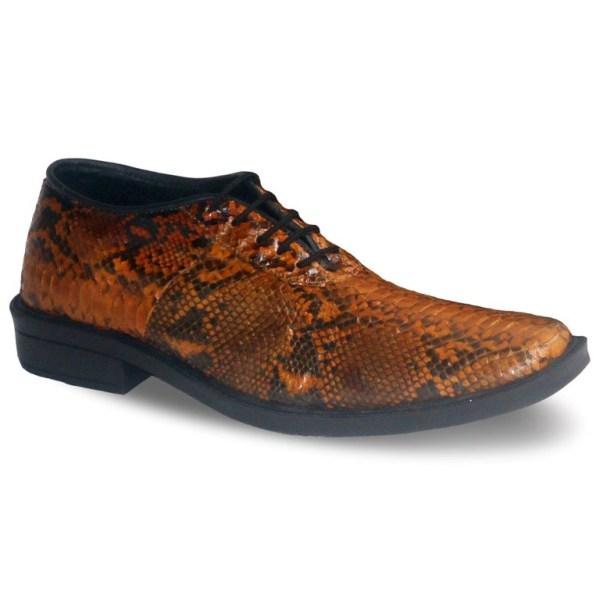sepatu kulit ular python pria python AP02 brown - atmal
