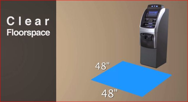 ATM Machines needs 48 inches by 48 inches of clear floor space